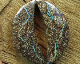 55cts, BOULDER OPAL~NATURAL SOLID PAIR.