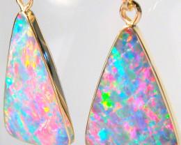 Rare Genuine Australian Opal Earrings Gem Jewelry 11.05ct D53