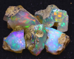 32.66Ct Multi Color Play Ethiopian Welo Opal Rough JF0716/R2