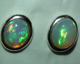 Opal Australian Coober Pedy Crystal  Silver Earring's  *