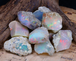 Welo Rough 63.29Ct Natural Ethiopian Play Of Color Rough Opal D0805