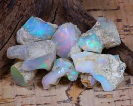 Welo Rough 57.59Ct Natural Ethiopian Play Of Color Rough Opal E0801