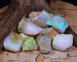 Welo Rough 56.99Ct Natural Ethiopian Play Of Color Rough Opal E0805