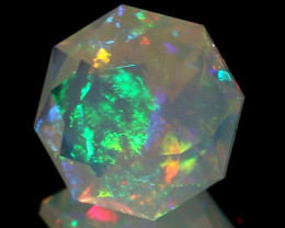 4.08CT GRAND MASTER FACETED ETHIOPIAN WELO OPAL WITH INCREDIBLE FIRE!