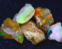 38.84Ct Multi Color Play Ethiopian Welo Opal Rough JF0915/R2