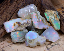 Welo Rough 43.68Ct Natural Ethiopian Play Of Color Rough Opal E1005
