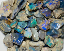 280 Cts of Dark Nobby Opals with Lots of Colours and Good Potential to Gamb