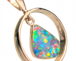 Australian Opal Pendant 14kt Rose Gold Gem Jewelry 8.15ct D59