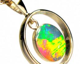 Australian Opal Pendant 14kt Gold Genuine Jewelry 8.45ct D57