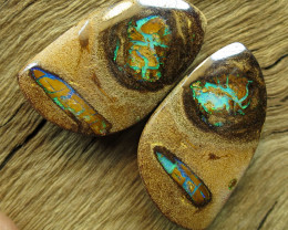 71cts, BOULDER PIPE OPAL~TOP PAIR.