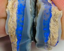 Vivid Blue Colour Bar Inside Dark Seam Solit - Cut Matching Pair
