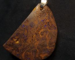 Queensland Boulder Opal Pendant. Polished Gemstone