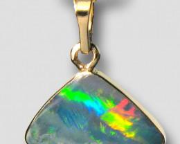 Australian Opal Pendant 2.25ct 14k Gold Inlaid Doublet #D61