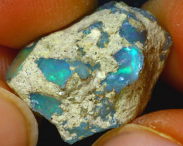 13.34Ct Multi Color Play Ethiopian Welo Opal Rough HF2017/R2