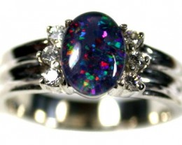 GEM TRIPLET OPAL  WITH DIAMANTIES  RING SIZE  7  SCA 592