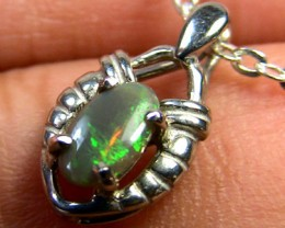 GREEN FIRE BLACK OPAL 18K WHITE GOLD PENDANT .30 CTS SCA607