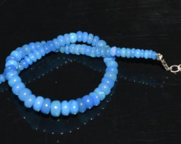 17.45 CT OPAL BRACELET MADE OF NATURAL ETHIOPIAN BEADS STERLING SILVER OBB2