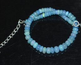 21.20 CT OPAL BRACELET MADE OF NATURAL ETHIOPIAN BEADS STERLING SILVER OBB2