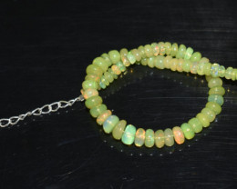 22.90 CT OPAL BRACELET MADE OF NATURAL ETHIOPIAN BEADS STERLING SILVER OBB3