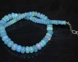 21.60 CT OPAL BRACELET MADE OF NATURAL ETHIOPIAN BEADS STERLING SILVER OBB4