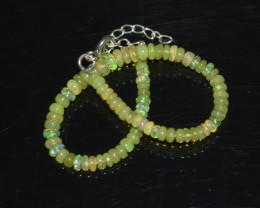 19.05 CT OPAL BRACELET MADE OF NATURAL ETHIOPIAN BEADS STERLING SILVER OBB4