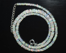 OPAL NECKLACE MADE WITH NATURAL ETHIOPIAN BEADS STERLING SILVER OBJ-17