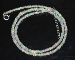 OPAL NECKLACE MADE WITH NATURAL ETHIOPIAN BEADS STERLING SILVER OBJ-25