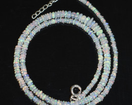OPAL NECKLACE MADE WITH NATURAL ETHIOPIAN BEADS STERLING SILVER OBJ-27