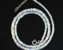 OPAL NECKLACE MADE WITH NATURAL ETHIOPIAN BEADS STERLING SILVER OBJ-29