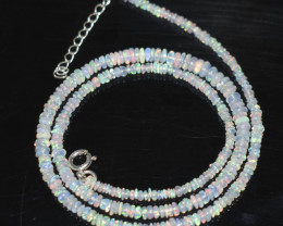 OPAL NECKLACE MADE WITH NATURAL ETHIOPIAN BEADS STERLING SILVER OBJ-31