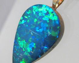 Australian Genuine Opal Pendant 14k Gold Doublet 4.45ct