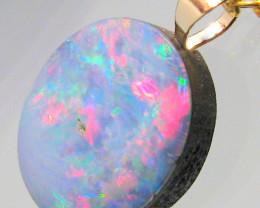 Australian Genuine Opal Pendant 14k Gold Doublet 4.65ct