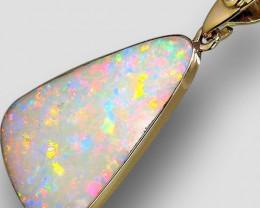Australian Solid Opal & Diamond Pendant 6.9ct 14k Gold Super Gem