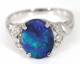17.05CTS BLACK OPAL DIAMOND  18K WHITE GOLD RING INV-  GC