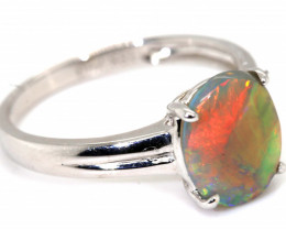 13.15CTS BLACK OPAL 18K WHITE GOLD RING INV-  GC