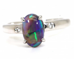15CTS BLACK OPAL DIAMOND 18K WHITE GOLD RING INV-  GC