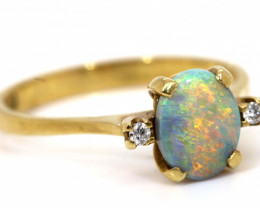 13.60CTS BLACKOPAL DIAMOND  18K GOLD RING INV-  GC