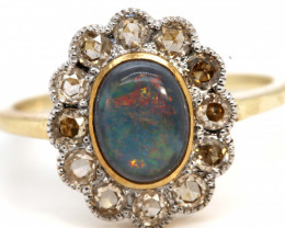 12.20CTS SOLID OPAL DIAMOND 14K GOLD ART DECO RING OF-1933