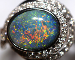 18K GOLD BLACK OPAL RING GOLD AND DIAMONDS [FR21]