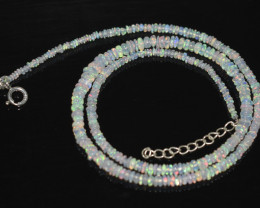 OPAL NECKLACE MADE WITH NATURAL ETHIOPIAN BEADS STERLING SILVER OBJ-33