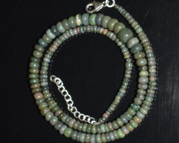 ETHIOPIAN OPAL BEADS NECKLACE BEADS STERLING SILVER OBJ-38
