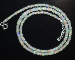 OPAL NECKLACE MADE WITH NATURAL ETHIOPIAN BEADS STERLING SILVER OBJ-39
