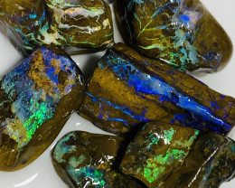 Top Gem Select Multicolour Bright Koroit Matrix Rough Boulder Opals to Cut#