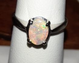 Beautiful Mintabie Australia Opal Solitaire Ring 10K WG