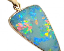 5.8ct 14k Gold Australian Opal Pendant Inlay Jewelry Gift #D63