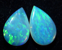 1.80 ct $1 NR Blue Green Solid Coober Pedy Crystal Opal Earring Pair