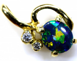 9.80 CTS  BLACK OPAL GOLD PENDANT OF-2538
