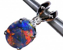 4.25 CTS  BLACK OPAL WHITE GOLD PENDANT OF-2789