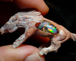 54ct Wild Horse Unique Nature Beauty Gift Matrix Opal Carving Mesmerizing H