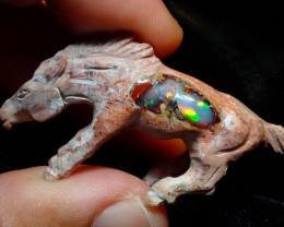 54ct Wild Horse Unique Nature Beauty Gift Matrix Opal Carving Mesmerizing H